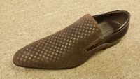 Zota Mens Brown Mini Checkered Leather and Suede Slip On Shoe HFD1-B1