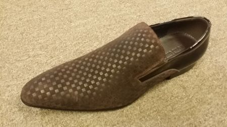 Zota Mens Brown Mini Checkered Leather and Suede Slip On Shoe HFD1-B1 - click to enlarge
