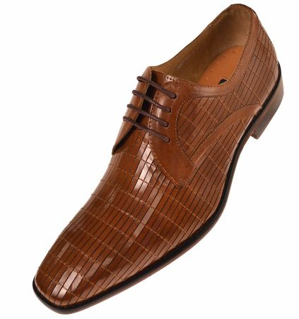 Steven Land Mens Tan Pattern Leather Dress Shoes SL752 Size 10, 11