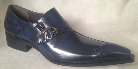 Zota Side Buckle Pointy Wingtip Navy Leather Fashion Shoes G737A-2 (IS)