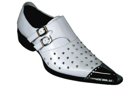 Zota Shoes White Pointy Toe Leather Slip On G908-33 - click to enlarge