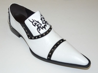 Zota Shoes White Pointy Toe Leather Slip On G508 Size 9 Final Sale