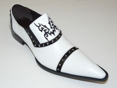 Zota Shoes White Pointy Toe Leather Slip On G508 Size 9 Final Sale - click to enlarge