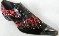 Zota Mens Burgundy Red Leopard Leather Metal Pointy Toe Shoes G908-34