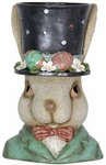 "11.5"" Rabbit w/Black Top Hat Planter"