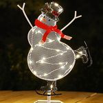"""11"""" Christmas Snowman Table Topper w/LED & Timer"""