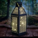 "16"" Filigree Metal Lantern w/20 LEDs & Timer"