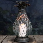 "17"" LED Pineapple Candle Lantern - Battery Powered w/Timer"