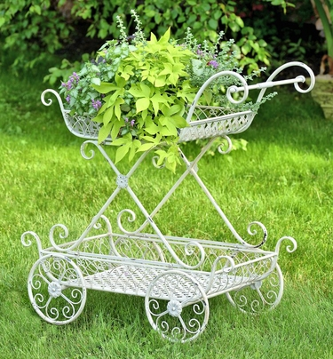 2-Tier Flower Cart Stand w/Moving Wheels  - Antique White - Click to enlarge