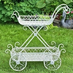 2-Tier Flower Cart Stand w/Moving Wheels  - Antique White