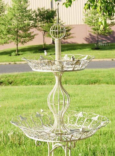 2-Tier Round Plant Stand - Antique White - Click to enlarge