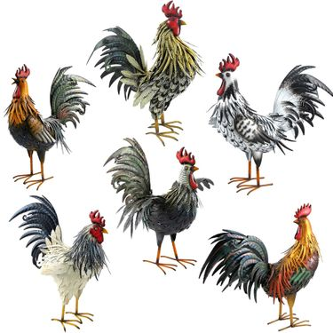 Large Assorted Iron Roosters (Set of 6) - Click to enlarge