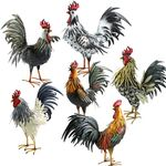 Large Assorted Iron Roosters (Set of 6)