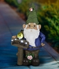 "22"" Solar Blue Gnome w/Welcome Sign"