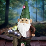 "22"" Solar Red Gnome w/Welcome Sign"