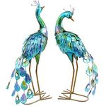 "23"" Tall Metallic Peacocks (Set of 2)"