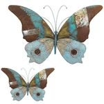 "28"" Blue Butterflies Rustic Wall Decor (Set of 2)"