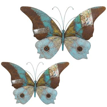 Blue Erflies Rustic Wall Decor Set