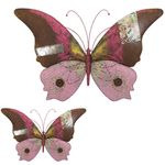 "28"" Pink Butterflies Rustic Wall Decor (Set of 2)"