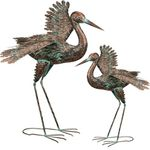 "32"" Green Patina Cranes - Wing Out (Set of 2)"