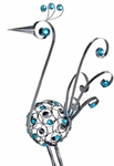 "48"" Filigree Bird - Pewter w/Blue Beads"