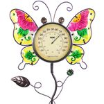 "36"" Glass Butterfly Thermometer Garden Stake"