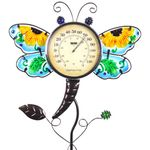 "36"" Glass Dragonfly Thermometer Garden Stake"