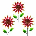"36"" Shimmering Flowers (Set of 3) - Red"