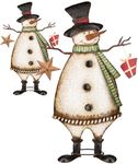 "36"" Vintage Metal Snowmen (Set of 2)"