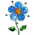 "36"" Whimsical Metal Flower Stake - Blue"