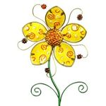 "36"" Whimsical Metal Flower Stake - Yellow"