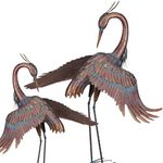 "44"" Preening Copper Patina Herons (Set of 2)"