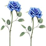 "45"" Artisan Metal Blue Roses (Set of 2)"