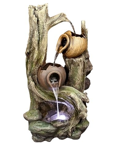 Tipping Pots Forest Fountain w/LED Lights - Click to enlarge
