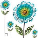 "53"" Blue Sunshine Flower Stakes (Set of 4)"