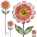 "53"" Orange Sunshine Flower Stakes (Set of 4)"