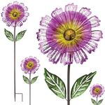 "53"" Purple Sunshine Flower Stakes (Set of 4)"