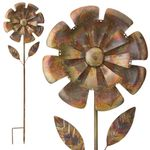 "55"" Copper Marigold Garden Stakes (Set of 2)"
