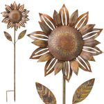 "55"" Copper Sunflower Garden Stakes (Set of 2)"