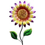 "56"" Colorful Metal Sunflower Garden Stake - Red"