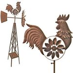 "58"" Rustic Rooster Spinner Windmill"