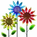 "60"" Shimmering Flower Stakes (Set of 3)"