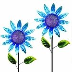"60"" Shimmering Flowers (Set of 2) - Blue"