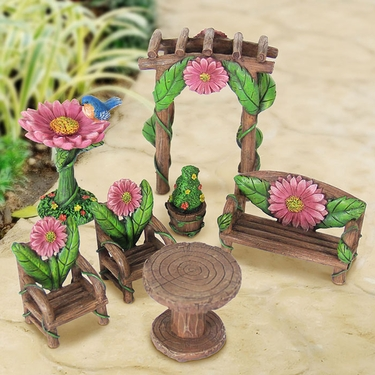7pc Miniature Pink Flower Patio Set - Click to enlarge