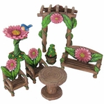 7pc Miniature Pink Flower Patio Set