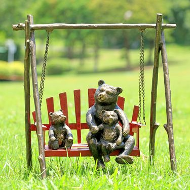 Bears & Cubs Porch Swing Sculpture - Click to enlarge
