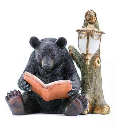 Black Bear Reading by Tree w/Light - Click to enlarge