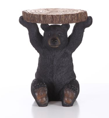Black Bear Sitting Table Statue - Click to enlarge
