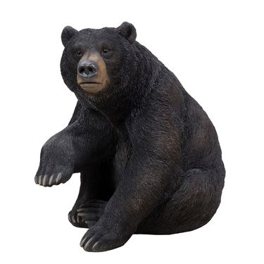 Black Bear Sitting w/One Paw Up Statue