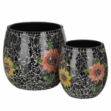 Black Mosaic Planters Set - Click to enlarge